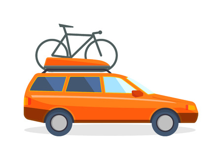 family vacation: Travel car family vacation and journey travel orange car. Travel car with bicycle tourism luggage. Family vacation on minivan car and bicycle. Travel by car flat summer vacation vector illustration.
