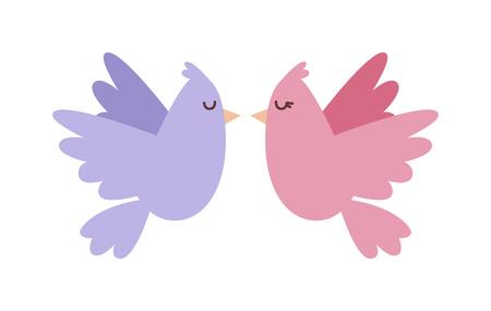 paloma caricatura: Palomas par con el icono de corazones de vector. Dove estilo de las aves de dibujos animados mosca pareja. Día de San Valentín o el diseño de tarjetas de boda. tarjeta de felicitación de San Valentín Vectores
