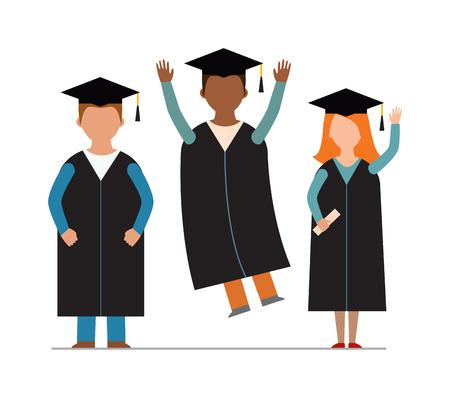 male silhouette: Graduation education people successful graduate students knowledge school university college graduation people infographic concept. Happy graduation people icons uniform throwing caps vector.