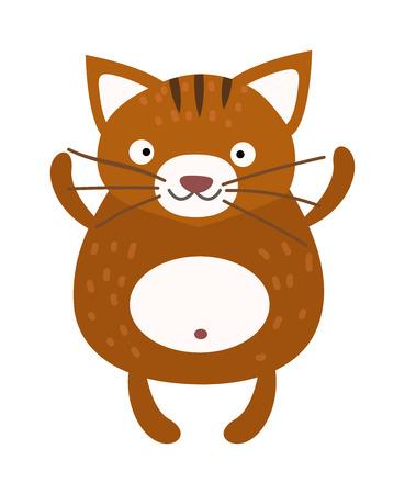 purring: Cartoon brown cat and domestic cartoon cat. Cartoon cat character, adorable cartoon cat. Cartoon feline cat funny mammal pet. Fuffy kitty friend vector. Cute furry cat sitting alone home animal vector Illustration