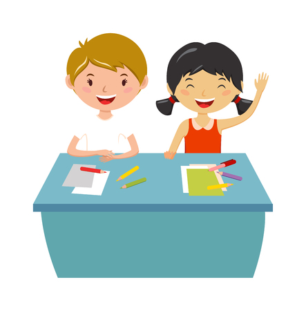 study group: Group school kids with pens and notebooks writing test in classroom. School kids person study cute classroom. School kids. School kids education elementary school learning and people concept vector.