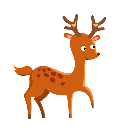 cartoon nose: Cartoon deer mascot animal and wildlife brown cartoon deer. Cartoon deer forest antler doodle. Comic male sweet deer animal with little horns. Cute deer cartoon running wild character vector.