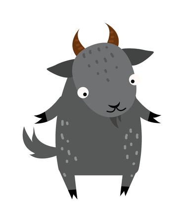 domestic goat: Cartoon goat comic smile nature and zoo mascot cartoon goat. Cartoon gray goat cheerful pet. Cartoon gray goat colorful adorable character. Cute cartoon gray goat mammal farm animal vector.