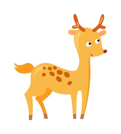 antler: Cartoon deer mascot animal and wildlife brown cartoon deer. Cartoon deer forest antler doodle. Comic male sweet deer animal with little horns. Cute deer cartoon running wild character vector.