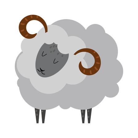 sheep love: Cartoon sheep farm and cheerful smile cartoon sheep. Cartoon sheep happiness domesticated. Cartoon sheep agriculture comic nature art vector. Smiling sheep cartoon animal lamb mammal vector. Illustration