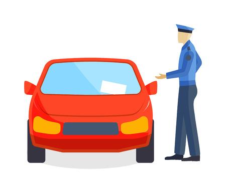 Obtención de ticket de aparcamiento, ticket de aparcamiento de pago mandato de la multa transporte. El policía multa de aparcamiento conductor. Policía por exceso de velocidad de escritura concepto de coche guardia de tráfico de estacionamiento conductor auxiliar de vuelo del vector. Ilustración de vector