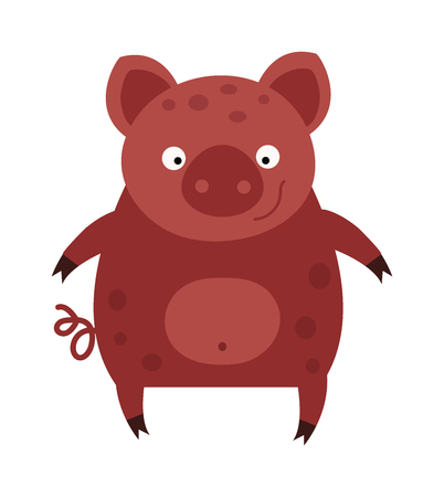 farm cartoon: Cartoon pig character and mammal cartoon pig. Cartoon pig domestic fun por. Swine comic mascot adorable pig. Standing small nature cartoon pig. Happy smiling little baby cartoon pig animal farm vector