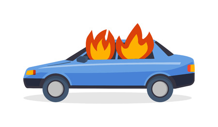 Car fire danger automobile road burn and car fire emergency auto destruction. Car fire safety burning blaze accident. Burning car fire suddenly started engulfing all the car accident danger vector.