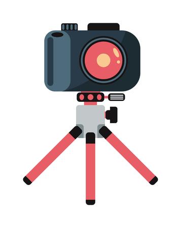 camera shutter: Modern photo camera on tripod and digital film photo camera on tripod. Pink tripod. Flat photo camera shutter creative optical classic cam. Digital flat photo camera on tripod technology vector.