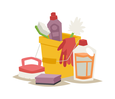 cleanser: Cleanser bottle chemical housework product and cleanser plastic bottle care wash equipment. Two plastic spray cleanser bottle with cleaning liquid flat vector illustration.