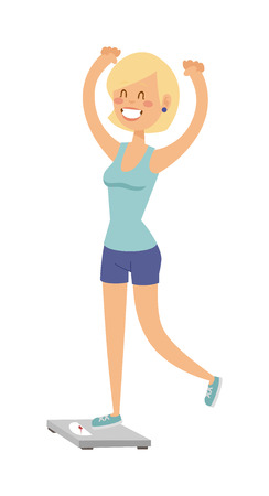 weight loss success: Girl on scales figure lifestyle care and pretty girl on scales. Girl on scales success fit measurement. Adult attractive shape fitness woman. Beautiful slim girl on scales fitness healthy body vector. Illustration