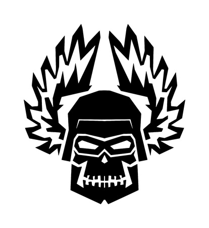 danger skull: Black skull death skeleton horror and black skull danger scary art. Black skull face anatomy. Black skull graphic dark gothic in helmet wings. Winged black skull mask in helmet wings of fire vector. Illustration