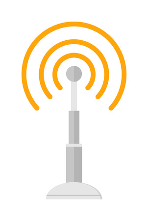 cell phone transmitter tower: Radio antenna wireless, technology and network signal radio antenna. Wave tower radio antenna. Telecommunications radio antenna tower or mobile phone base station with engineers concept vector. Illustration