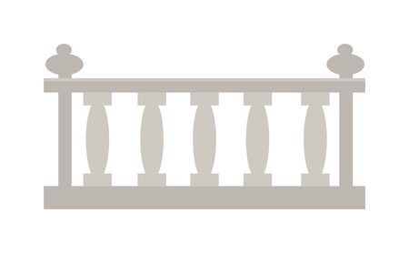 railing: Railing steel home outdoor decoration and balcony railing. Railing modern staircase gate. Old building border element barrier. Vintage railing made of stone or gypsum architectural metal vector.