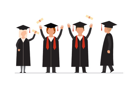 university campus: Flat modern graduation people successful graduate students education knowledge school university college graduation people infographic concept. Happy graduation people uniform throwing caps vector. Illustration
