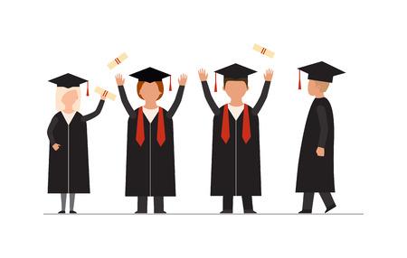 estudiantes universitarios: la gente graduación modernas planas estudiantes graduados universitarios conocimiento educación escuela La gente exitosa graduación de la universidad concepto de infografía. la gente feliz de la graduación uniforme tapas de lanzamiento de vectores. Vectores