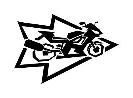 forcer: Motorcycle label badge vector black icon and moto club logo illustration. Moto club label logo with hand, skull and bike piston Bike club badge design element