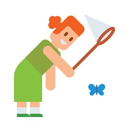 butterfly vector: Curious little girl holding butterfly net in hands and fun summer girl with butterfly net. Outdoors catch butterflies with net. Girl tries catch butterflies with net cute cartoon vector.