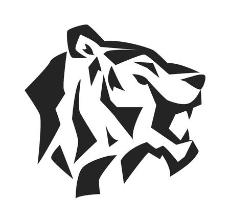 visage de tigre noir et visage de tigre sauvage sibérie. Le symbole de la puissance du tigre. Danger tigre Fase expression animale. Portrait tigre sibérien par safari animal. Tiger tête visage silhouette noire animal sauvage logo vectoriel.