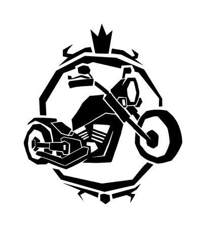 Motorcycle label badge vector black icon and moto club logo illustration. Moto club label logo with hand, skull and bike piston Bike club badge design element Logo