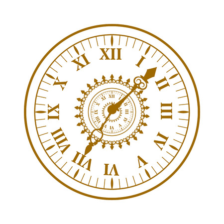 watch face: Flat watch face circle measurement and watch face time dial vector symbol isolated on white. Watch face antique clock vector illustration.