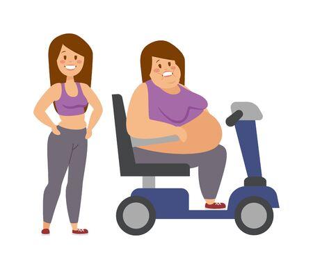 karakter van het beeldverhaal van de dikke vrouw en vet vrouw zitten, het op dieet fitness. Dikke vrouw die naast haar dikke zus cartoon vector flat illustratie. Vector Illustratie
