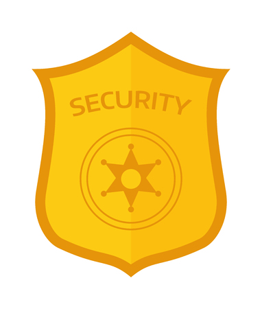 enforcement: Police badge officer enforcement and sheriff detective metal police badge. Police badge policeman protection security gold star. Captain federal bage. Special gold officer police badge law vector. Illustration