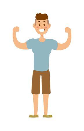 hombre fuerte: Hombre fuerte del estilo de vida deportiva de la salud y fuerte la fuerza atractiva del deporte del hombre muscular de energ�a. entrenamiento del hombre del deporte. Sana construido modelo de hombre fuerte de moda del deporte activo vector de personaje de dibujos animados ropa deportiva.