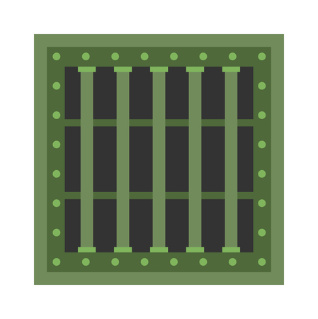 Prison grill grid bar freedom and prison grill grate iron. Prison grill imprisonment punishment wall. Security window lattice closed grill justice. Prison cell window with metal green grill vector.