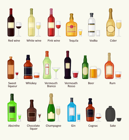 refreshment: Alcohol drinks beverages and alcohol cocktail whiskey drink bottle lager refreshment container. Alcohol menu drunk concept. Set of different alcohol drink bottle and glasses vector illustration.