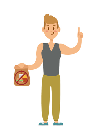 Fast food people restaurant hamburger person and fast food burger lunch lifestyle people. Fast food eating people. Young skinny people with package not recommended fast food not healthy food vector. Illustration