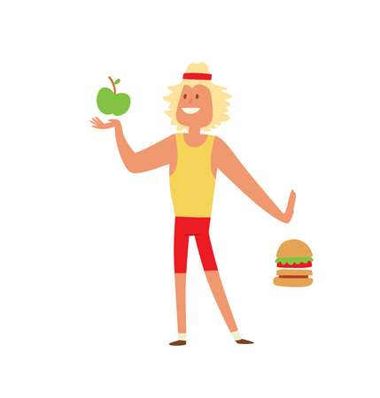 skinny: Fast food people restaurant hamburger person and fast food burger lunch lifestyle people. Fast food eating people. Young skinny people with package not recommended fast food not healthy food vector. Illustration