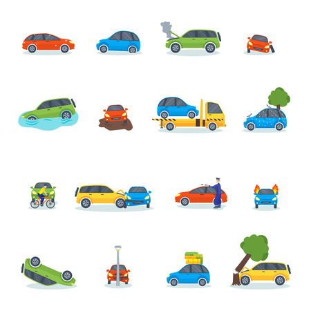 traffic pole: Car crash collision traffic insurance and car crash safety automobile emergency disaster. Car crash emergency disaster speed repair. Auto accident involving car crash city street vector illustration. Illustration