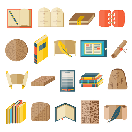 publishing: Books icons document magazine publication typography and books icons publishing knowledge typography bookstore vector. Book cartoon icons included normal typography library education state vector.