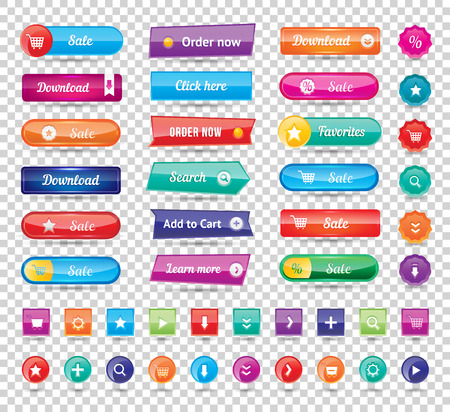 website buttons: Colorful long round website buttons design vector illustration. Buttons glossy, website buttons graphic label and website buttons internet template banner. Website buttons menu reflection navigation.