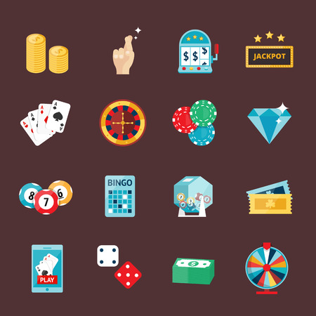 gambler: Casino game icons poker gambler symbols and casino blackjack cards gambler money winning icons. Casino icons set with roulette gambler joker slot machine isolated vector icons illustration. Casino concept