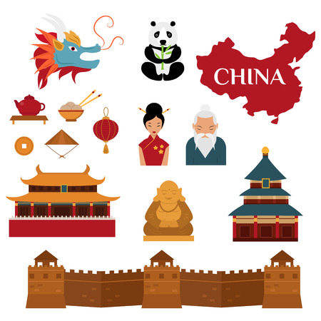 traditional culture: Chinese objects asian oriental decoration and chinese objects sightseeing festival gold ancient. Chinese objects sightseeing. Chinese traditional culture lanterns and objects vector illustration.