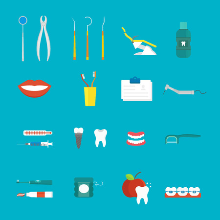 toothy smile: Tooth care icons surrounded toothbrushes and tooth care icons toothy smile. Toothpaste floss tooth care. Dental hygiene medical concept flat style with cross section healthy tooth care icons vector.