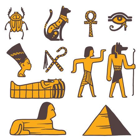 egyptian pyramids: Egypt travel vector icons. Egypt symbols. Travel to Egypt infographic design elements vector illustration cartoon style. Pharaohs, egypt cat, pyramid and head
