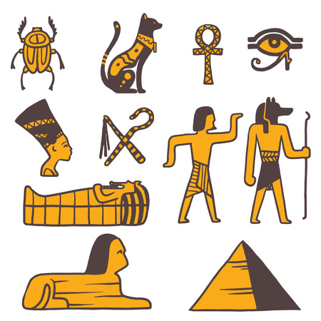 Egypt travel vector icons. Egypt symbols. Travel to Egypt infographic design elements vector illustration cartoon style. Pharaohs, egypt cat, pyramid and head