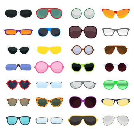 fashion glasses: Vector fashion glasses collection isolated on white. Fashion glasses. Hipster fashion glasses, summer  fashion glasses vector illustration. Sunglasses isolated vector illustration. Glasses collection Illustration