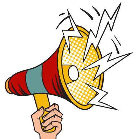 Megaphone design pop art and speech pop art megaphone in hand vector. Pop art megaphone design loudspeaker cartoon vector illustration.