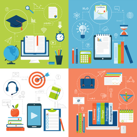 education technology: Online education flat solid icons vector set of distance education school and webinar education symbols. Online education flat style icons webinar online education. School, university