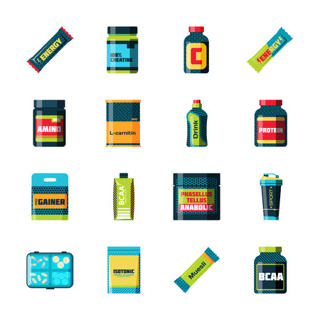power food: Sports nutrition food icons in flat style detailed vector illustration. Sports food nutrition healthy food and sports nutrition fitness diet. Sports nutrition food bodybuilding proteine power drink. Fresh protein.