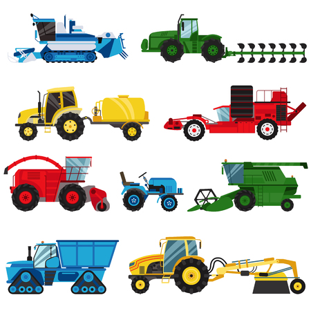 Landwirtschaft industrielle landwirtschaftliche Geräte, Maschinentraktoren kombiniert und Bagger landwirtschaftliche Geräte, Sammelmaschinen Vektor. Gerätefarm für landwirtschaftliche Maschinen kombinieren Erntemaschinenvektor.