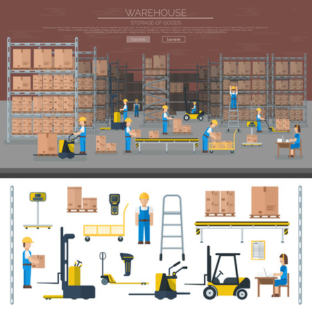 delivery van: Large warehouse workers preparing goods for dispatch industry and warehouse cargo transport shipping package workers. Warehouse worker taking package in shelf logistic industry flat vector banners.