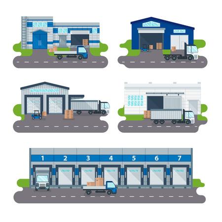 carretillas almacen: la entrega de logística de almacén moderno de transporte de mercancías y logística de almacenes tienda de operador de distribución. colección centro de logística de entrega del almacén, carga de camiones, carretillas elevadoras trabajadores del vector.