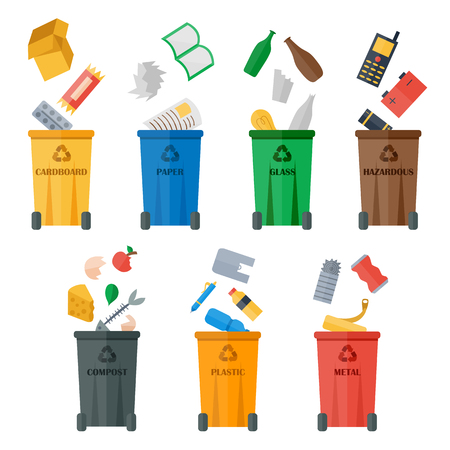 Waste sorting of garbage types set vector. Waste management and recycle concept. Separation of waste on trash metal garbage bins. Sorting waste recycling. Colored garbage cans with waste types vector. Çizim