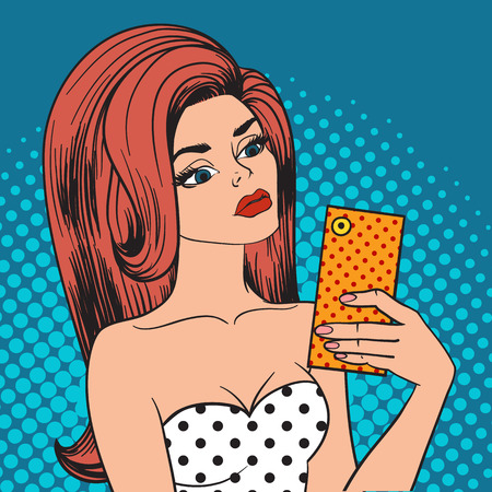 making face: Sending kisses pop art selfie girl holding phone and instagram selfie pop art girl. Hipster selfie pop art girl attractive person. Pretty hipster girl taking selfie and making duck face pop art vector Illustration