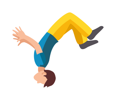 extreme sport: Parkour trick people extreme sport cartoon vector silhouette or city sport parkour trick people pose, parkour flat trick vector people jump, fall tricks.